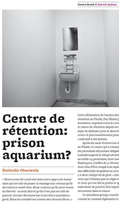 'Centre de rétention: prison aquarium?', de Nathalie Oberweis, photos de Patrick Galbats
