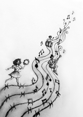 Faites de la musique, pas des centres fermés! - Illustration by Nina K.